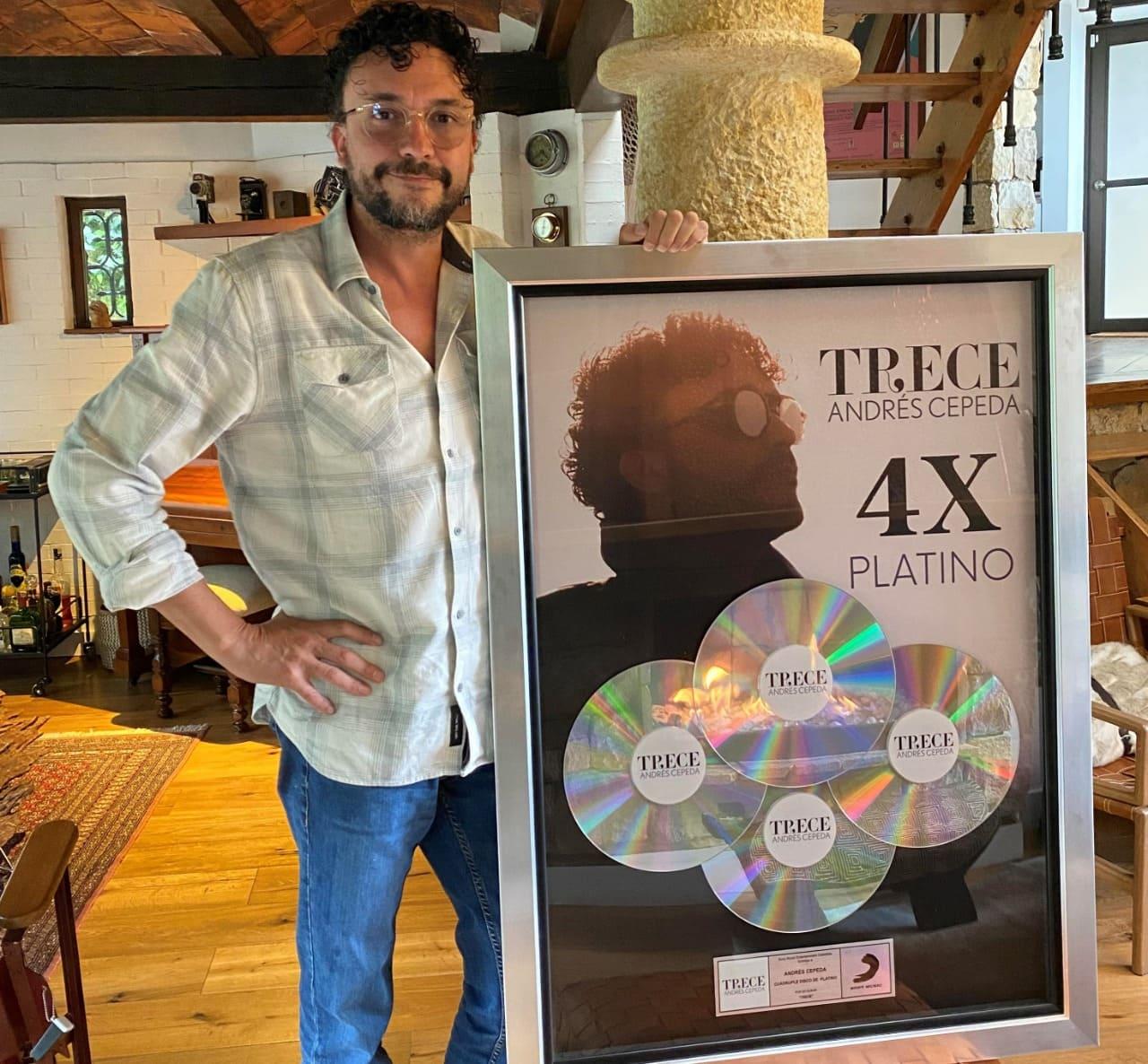 El Álbum ´Trece´ de Andrés Cepeda alcanza certificación Cuádruple Platino