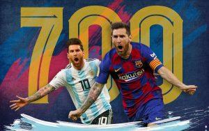 El futbolista argentino Messi alcanzo los 700 goles en su carrera deportiva