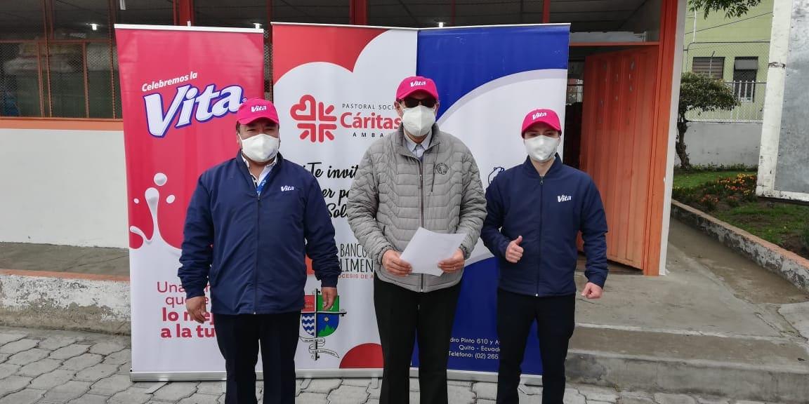 Pasteurizadora Quito donó 4.500 litros de su marca VITA Leche a comunidades de Ambato