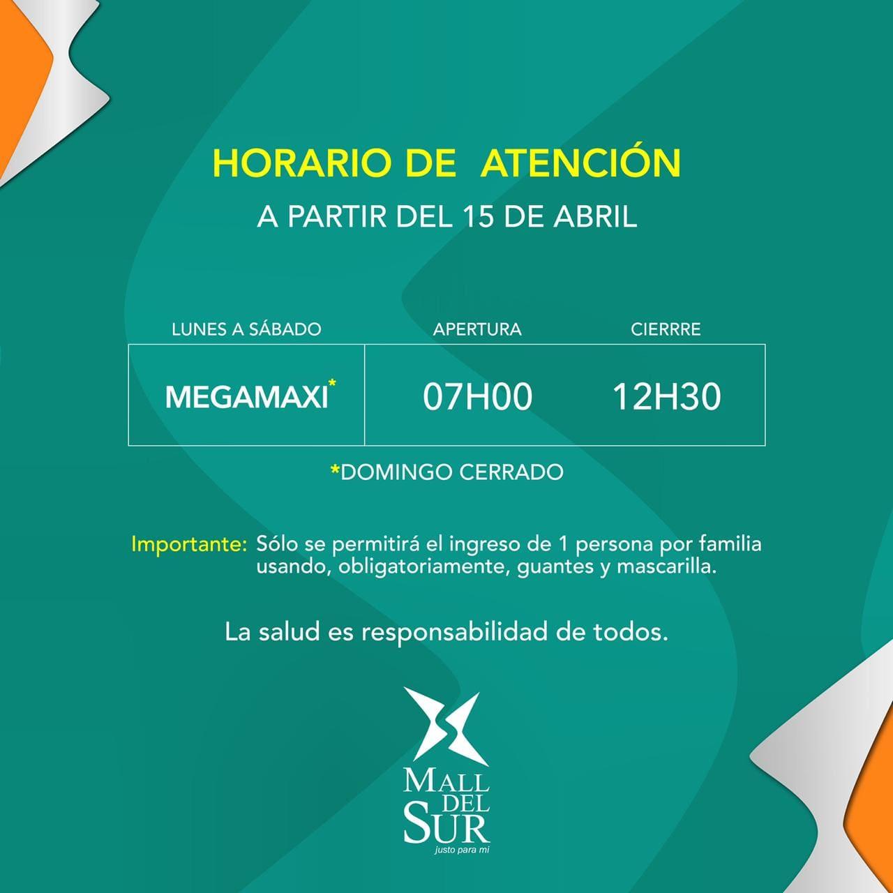 HORARIOS DE ATENCIÓN DE MALL DEL SUR