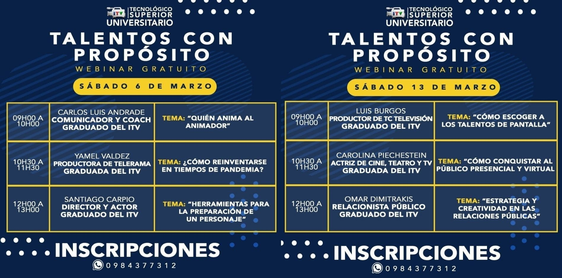 """""""Talentos con Propósito"""", son charlas gratuitas que desarrolla el ITV entre 6 y 13 de Marzo"""