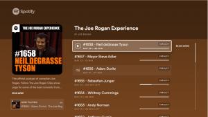 Ahora se puede disfrutar de video podcast en spotify en pantalla grande LG