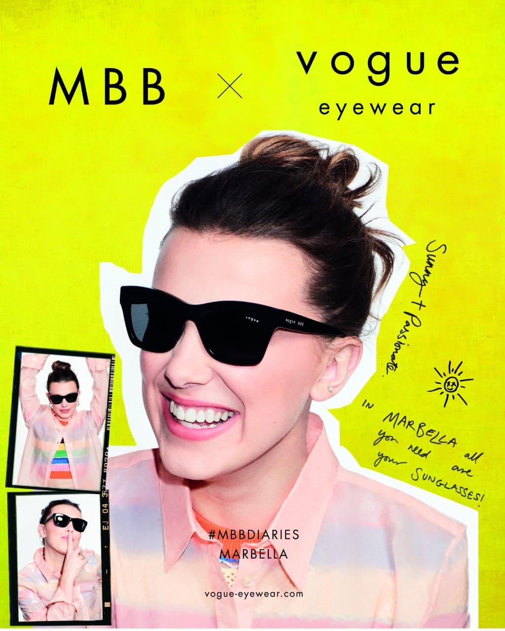 Vogue Eyewear presenta #MBBDIARIES, una colección inspirada por la actriz Millie Bobby Brown en ópticas GMO